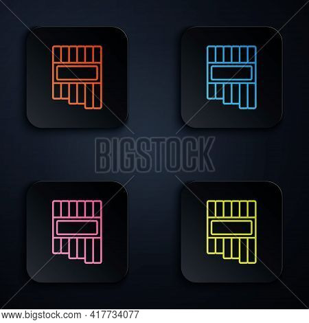 Color Neon Line Pan Flute Icon Isolated On Black Background. Traditional Peruvian Musical Instrument