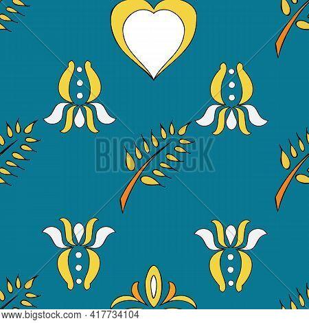 Vector Allports Blue Background Brittany Celtic, Breton Trational Folklore Symbols Seamless Pattern.