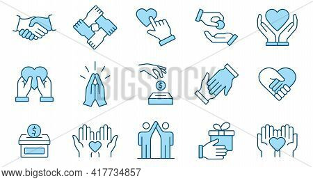 Charity Line Icon Set. Collection Of Agreement, Cooperation, Hope And More. Vector Illustration. Edi