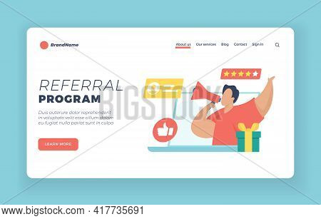 Referral Program Landing Page Website Banner Template. Male Character Holding Megaphone In Hand Whil