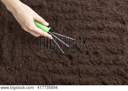 Women's Hands Loosen The Ground With A Rake. Soft Focus. Flat Lay