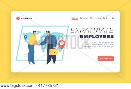 Expatriate Employees Landing Page Website Banner Template. Human Resources Agency For Migrants. Gett