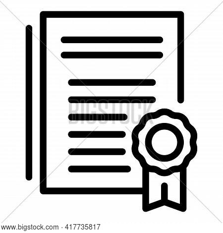 School Diploma Icon. Outline School Diploma Vector Icon For Web Design Isolated On White Background