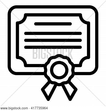 School Certificate Icon. Outline School Certificate Vector Icon For Web Design Isolated On White Bac