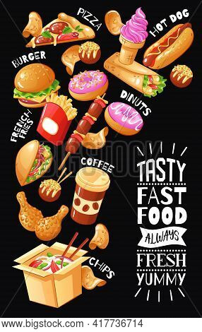 Flat Design Poster With Menu For Fast Food Cafe With Burgers Pizza Drinks Chicken Desserts On Black
