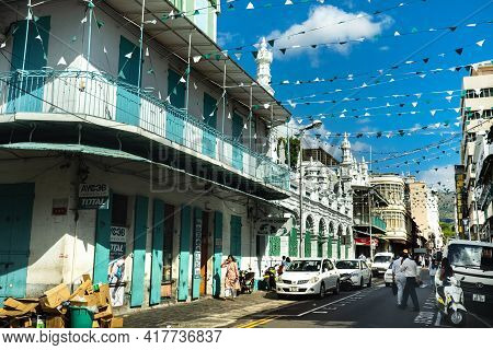 December 3, 2019.mauritius.port Louis. A City Street With People In The Center Of Port Louis, The Ca