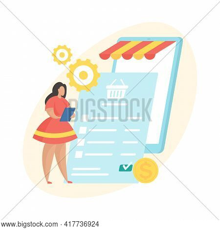 Pending Payment. Flat Vector Illustration. Digital Shopping Order Processing Status Icon. Female Car