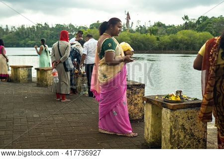 December 6, 2019.mauritius.africa.locals At The Ganga Talao Hindu Temple, Grand Bassin On The Island