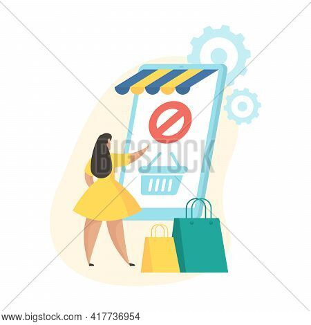 Order Canceled. Flat Vector Illustration. Mobile Shopping Application Status Icon. Female Cartoon Ch