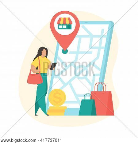 Store Location. Female Cartoon Character Using Mobile Store Application To Search Store Location On