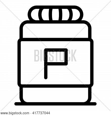 Protein Bottle Icon. Outline Protein Bottle Vector Icon For Web Design Isolated On White Background