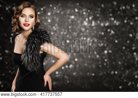 Retro Fashion Model In Black Dress Fur, Glamour Wave Hairstyle Makeup, Beauty Woman Portrait, Studio