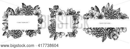 Floral Frames With Black And White Hibiscus, Plum Flowers, Peach Flowers, Sakura Flowers, Magnolia F