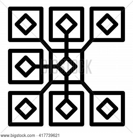 Virtual Blockchain Icon. Outline Virtual Blockchain Vector Icon For Web Design Isolated On White Bac
