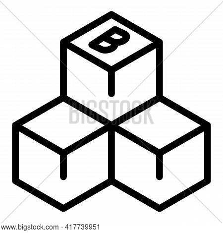 Blockchain Cubes Icon. Outline Blockchain Cubes Vector Icon For Web Design Isolated On White Backgro