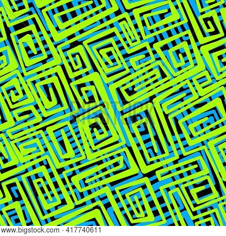 Neon Vector Seamless Abstract Pattern. Swirling Yellow-green And Blue Stripes Of Different Thickness