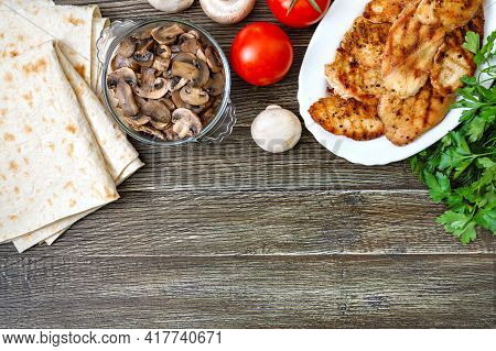 Shawarma Ingredients. Thin Pita Bread, Grilled Meat, Fresh Vegetables, Herbs, Mushrooms For A Tasty