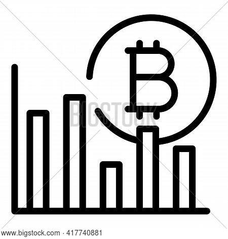 Bitcoin Infochart Icon. Outline Bitcoin Infochart Vector Icon For Web Design Isolated On White Backg