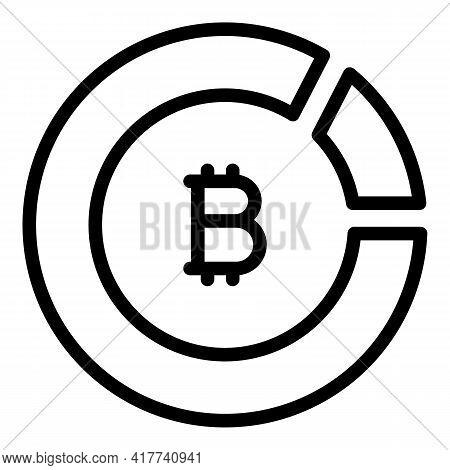 Bitcoin Crypto Icon. Outline Bitcoin Crypto Vector Icon For Web Design Isolated On White Background