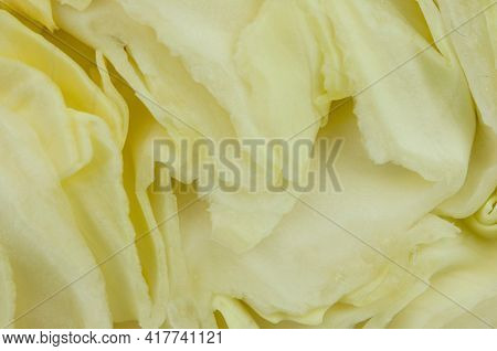 cabbage is cut. close-up shows a cut. clearly visible texture of cabbage