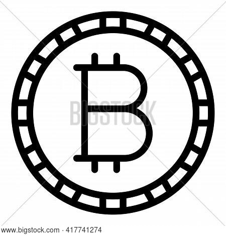 Bitcoin Exchange Icon. Outline Bitcoin Exchange Vector Icon For Web Design Isolated On White Backgro