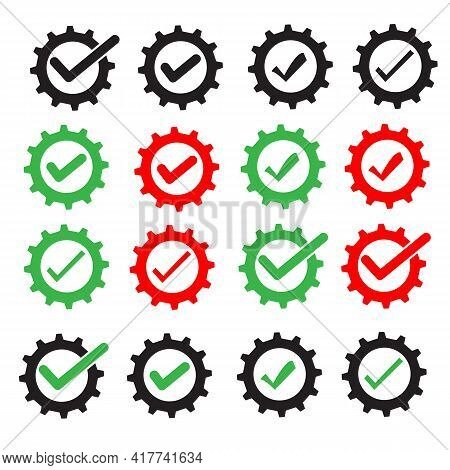 Cog Check Icon On White Background. Check Mark In Gear Sign. Flat Style. Gear With Check Mark Symbol