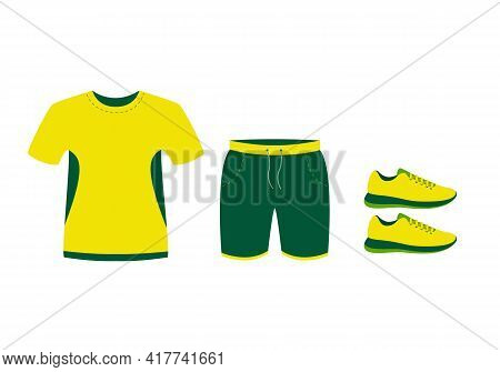Summer Running Clothes. T-shirt, Shorts And Sneakers