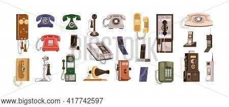 Vintage Telephones And Modern Mobile Phones Set. Old Antique Analog Devices For Communication. Deskt