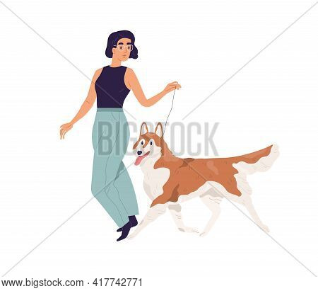 Happy Young Woman Walking With Dog. Pet Owner Leading Her Akita-inu Doggy On Leash. Female Character