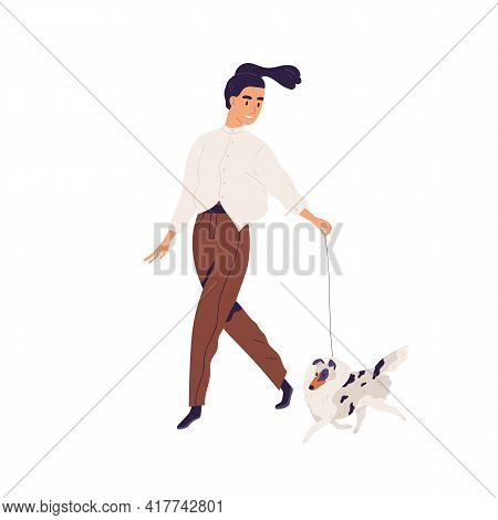Happy Young Woman Walking With Purebred Small Dog. Pet Owner Leading Her Shetland Doggy On Leash. Fe