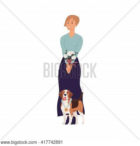 Portrait Of Young Happy Woman And Cute Dog Standing Together With Golden Medal As Winner Of Doggy Ch