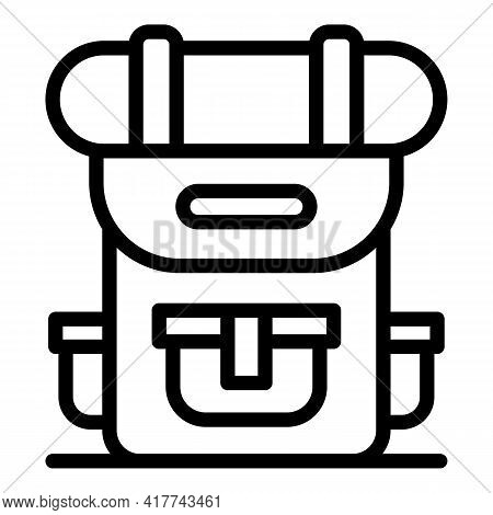 Hiking Backpack Icon. Outline Hiking Backpack Vector Icon For Web Design Isolated On White Backgroun