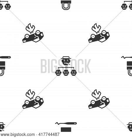 Set Lock Picks For Lock Picking, Mafia And Burning Car On Seamless Pattern. Vector