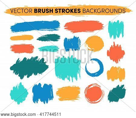 Hand Drawn Vector Brush Strokes Backgrounds. Color Paint Spots, Ink Brush Stroke Set. Grunge Artisti