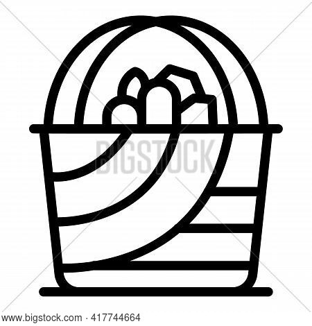 Nature Picnic Basket Icon. Outline Nature Picnic Basket Vector Icon For Web Design Isolated On White