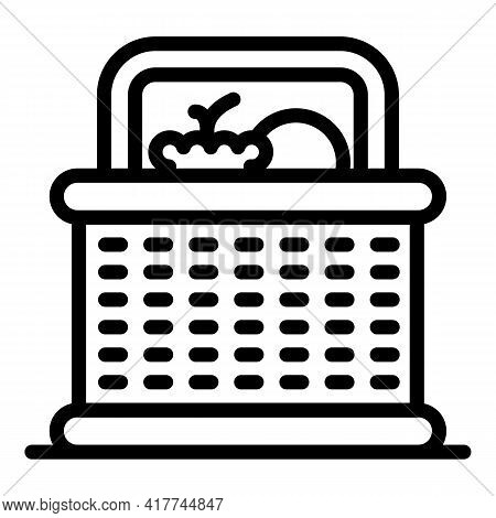Grocery Picnic Basket Icon. Outline Grocery Picnic Basket Vector Icon For Web Design Isolated On Whi