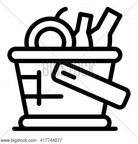 Handle Picnic Basket Icon. Outline Handle Picnic Basket Vector Icon For Web Design Isolated On White