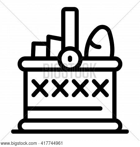 Wicker Picnic Basket Icon. Outline Wicker Picnic Basket Vector Icon For Web Design Isolated On White
