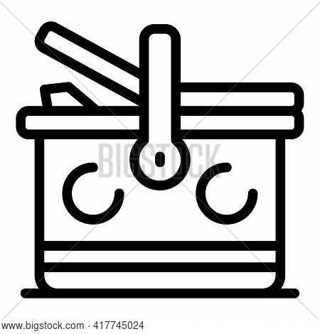 Craft Picnic Basket Icon. Outline Craft Picnic Basket Vector Icon For Web Design Isolated On White B