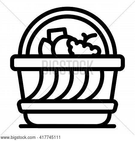 Bbq Picnic Basket Icon. Outline Bbq Picnic Basket Vector Icon For Web Design Isolated On White Backg