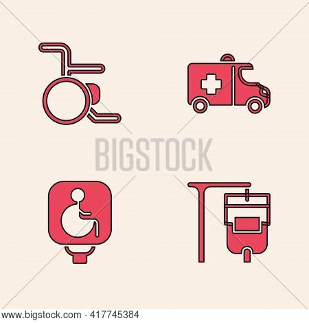 Set Iv Bag, Wheelchair, Emergency Car And Disabled Wheelchair Icon. Vector