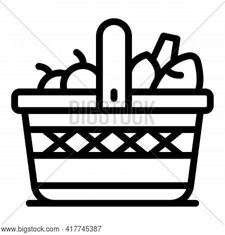 Camping Picnic Basket Icon. Outline Camping Picnic Basket Vector Icon For Web Design Isolated On Whi