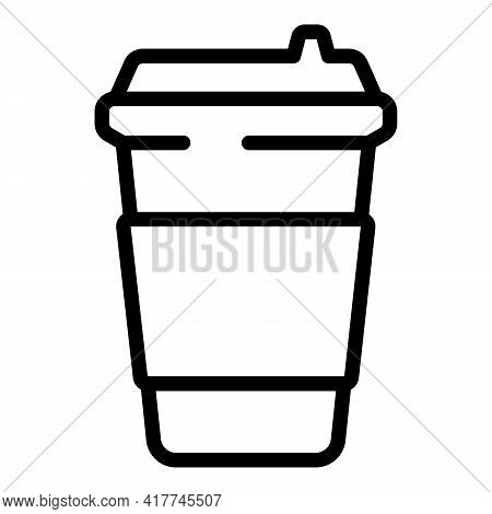 Coffee Takeaway Icon. Outline Coffee Takeaway Vector Icon For Web Design Isolated On White Backgroun