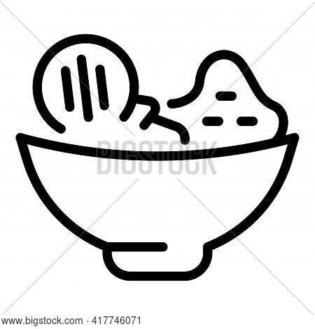 Grilled Food Bowl Icon. Outline Grilled Food Bowl Vector Icon For Web Design Isolated On White Backg