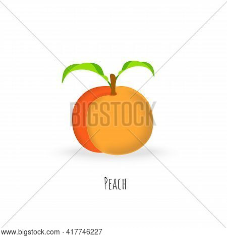 Single Peach Fruit Isolated On White Background. Vibrant Colored Plump Peach With Green Leaves. Flat