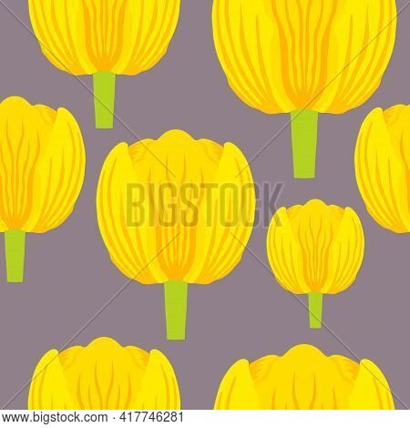 Seamless Pattern With Varietal Vibrant Yellow And Orange Tulip. Tulips Colorful Heads On The Lilac B