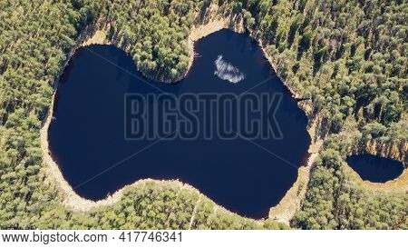 Aerial Shot. A Blue Water Lake That Resembles The Contour Of The Latvian State, Surrounded By A Pine