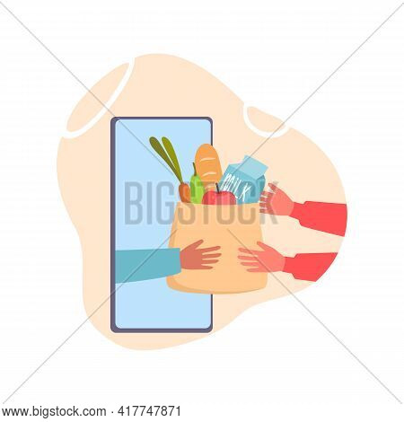 Online Food Store Shopping. Grocery Contactless Delivery, Flat Internet Supermarket App. Goods Packa