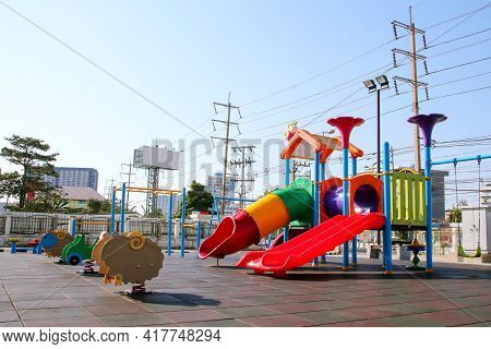 Bangkok, Thailand - February 19, 2019 : Slide And Toy On Children Playground In Public Park.