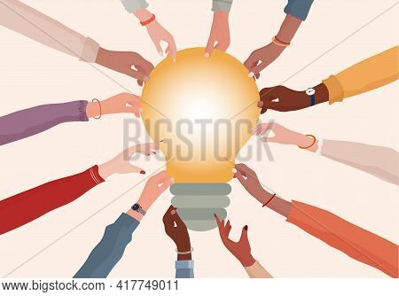 Agreement Or Affair Between A Group Of Colleagues Or Collaborators.arms And Hands Holding Speech Bub